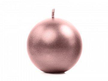 Bougie boule rose métalique