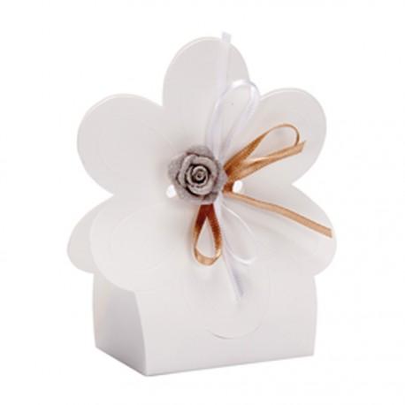 Boite a dragees fleur en carton blanc