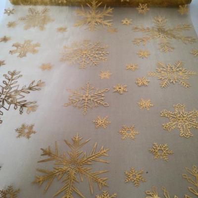 Chemin de table flocons dorés