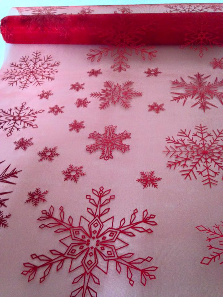 Chemin de table noel rouge 1