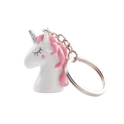 Licorne rose porte clés